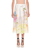 Magdalena Suarez Collaboration Printed Cotton Voile Pleated Ankle Skirt