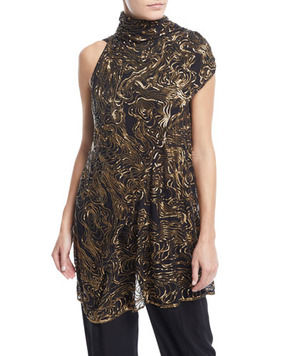 Urban Zen River-Ripple Mock-Neck Sequined Top