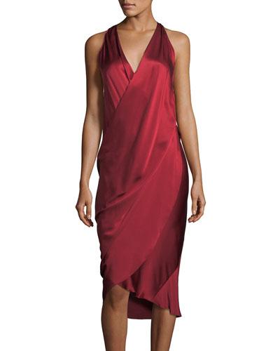 V-Neck Sleeveless Draped Silk Charmeuse Dress