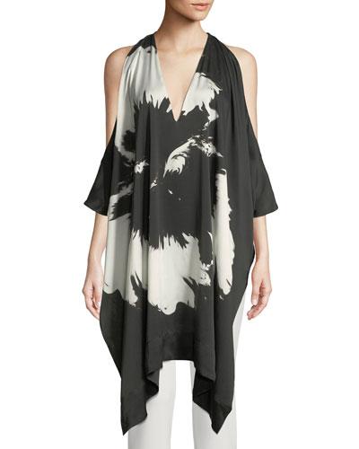 Splash Flower Cold-Shoulder Draped Silk Tunic