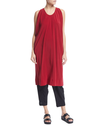 Scoop-Neck Sleeveless Silk Oversized Tunic