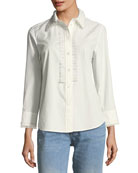 Button-Front Long-Sleeve Poplin Shirt with Pleats