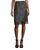 Dot-Jacquard Pencil Skirt