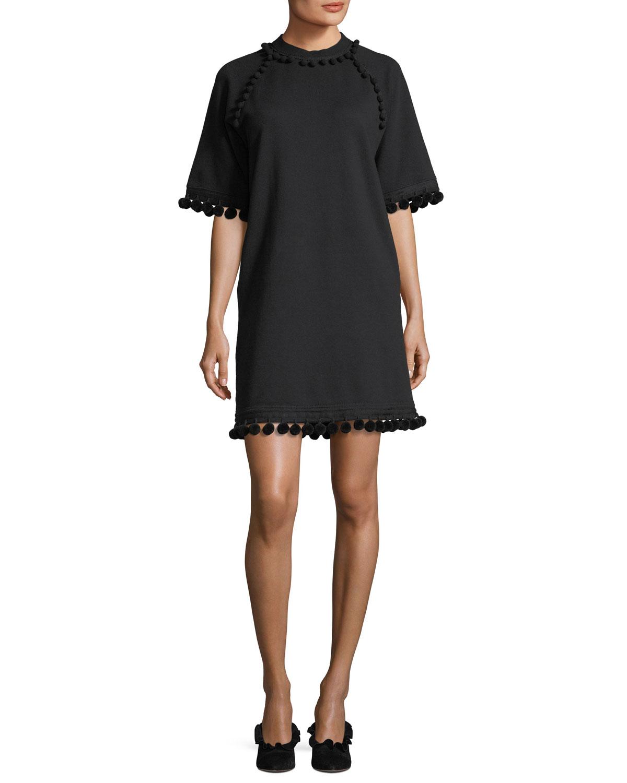 Mock-Neck Half-Sleeve A-Line Dress with Pompoms