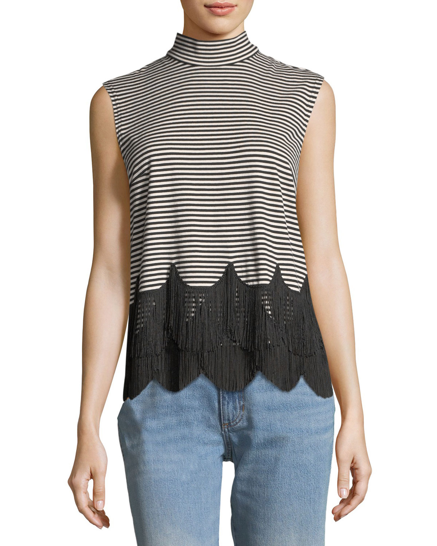 Mock-Neck Sleeveless Striped Top with Fringe
