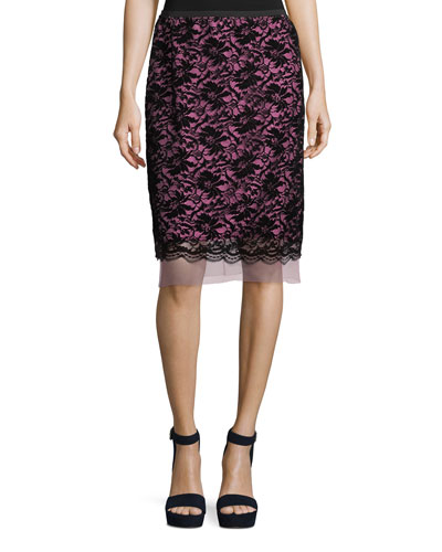 Flocked Floral Lace Straight Skirt with Scallop Hem