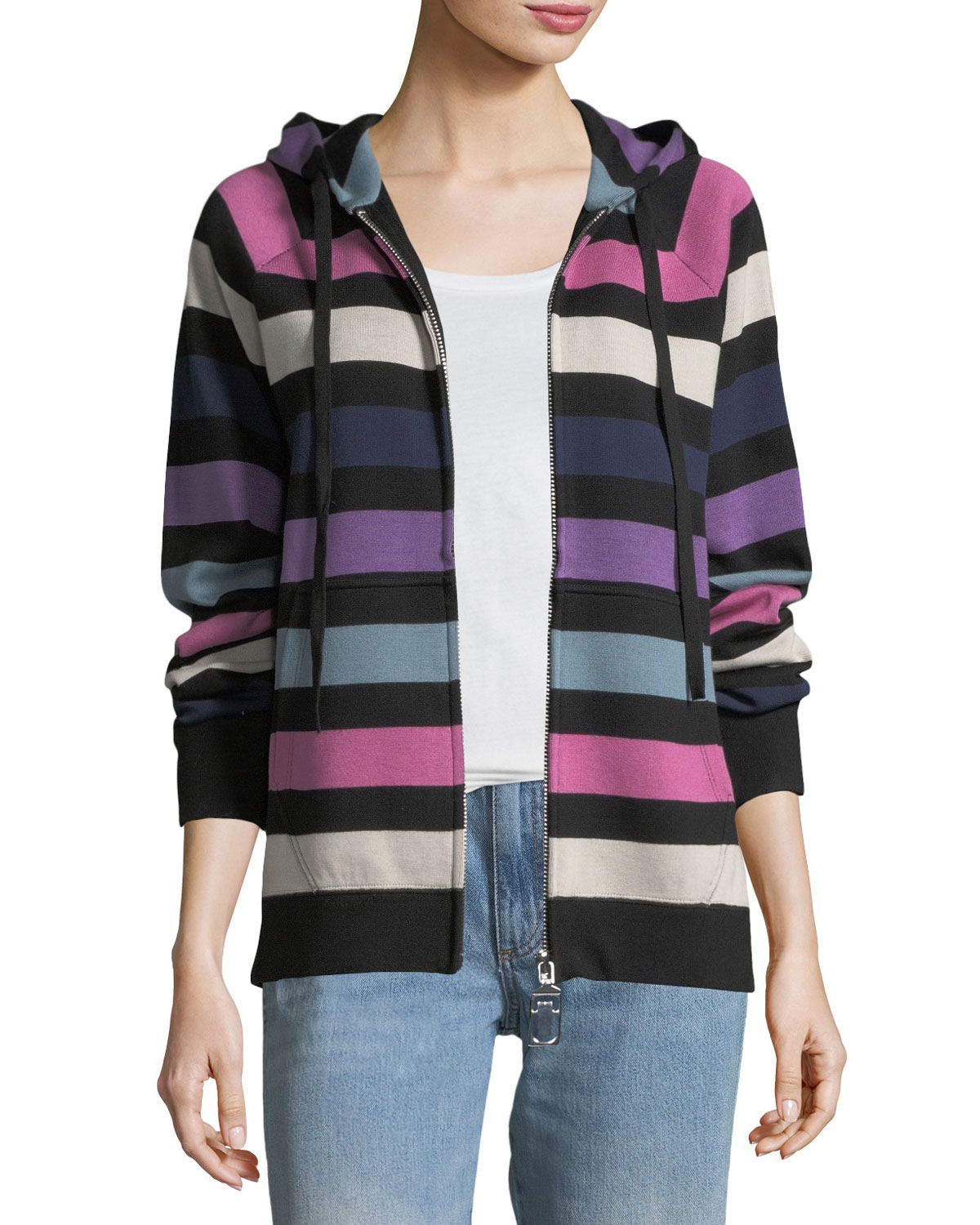 Zip-Front Striped Hooded Jacket