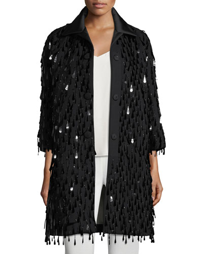 Button-Front Paillette Oversized Wool Coat