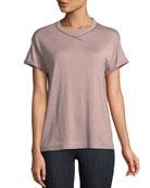 Short-Sleeve Cashmere Silk Lurex® Pullover w/ Monili Trim