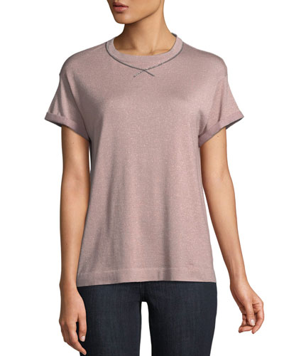 Short-Sleeve Cashmere Silk Lurex® Pullover w/ Monili Trim