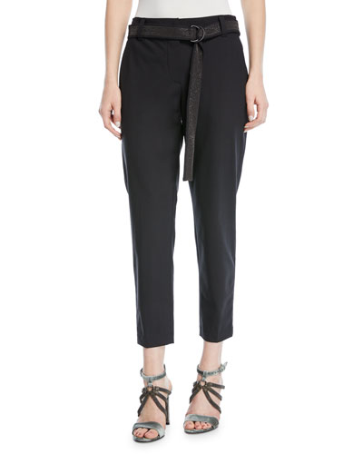 Straight-Leg Lightweight-Wool Pants with Monili Belt