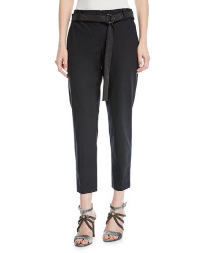 Straight-Leg Lightweight-Wool Pants with Monili Belt