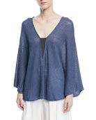 V-Neck Long-Sleeve Linen-Silk Paillette Capelet with Monili Inset