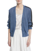 Button-Front Cardigan with Contrast Racing Stripe