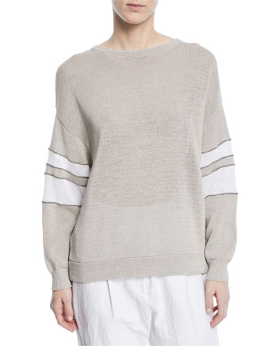 Knit Pullover Sweater w/Arm Band Stripes