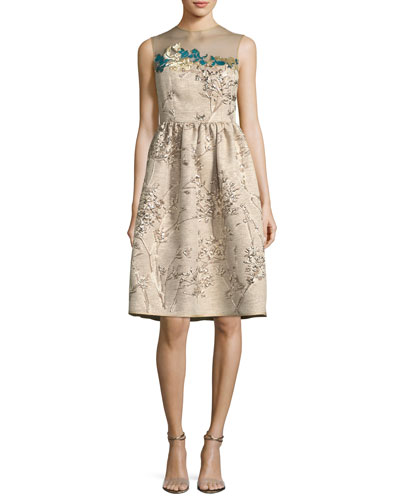 Ponnel Sleeveless Twig Silk Jacquard Cocktail Dress with Floral Embroidery