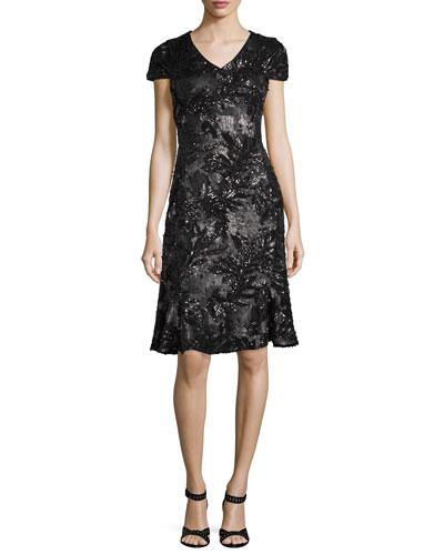 V-Neck Cap-Sleeve Sequined Dress with Flared Hem