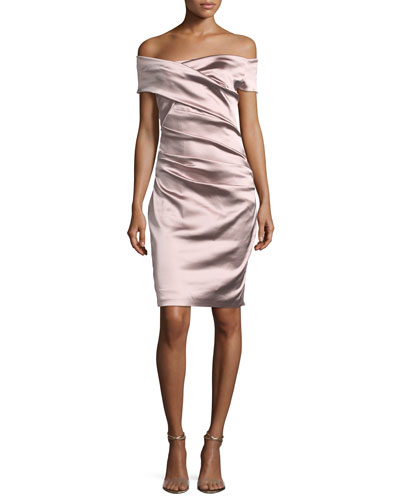 Off-the-Shoulder Ruched Satin Duchesse Cocktail Dress