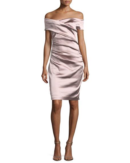 Talbot Runhof Off-the-Shoulder Ruched Satin Duchesse Cocktail Dress