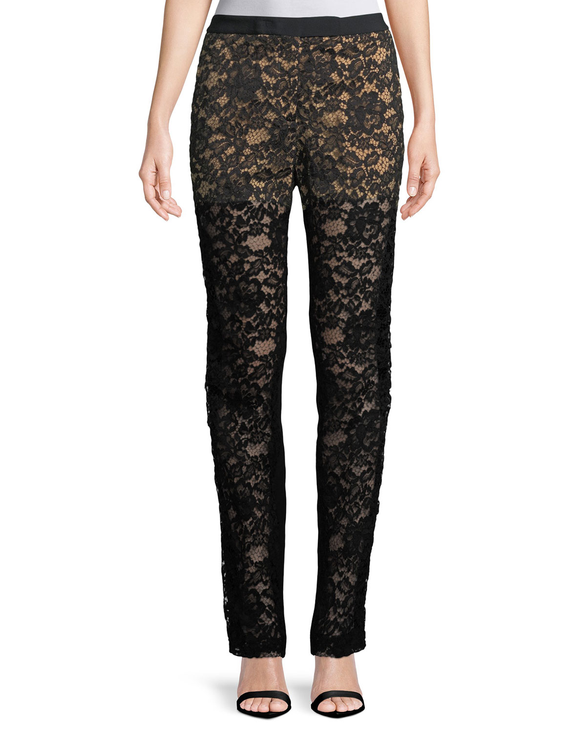 Lace Front Straight-Leg Pants