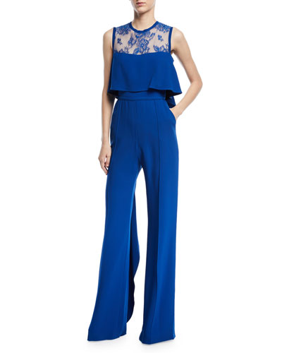 Sleeveless Lace-Yoke Wide-Leg Jumpsuit with Ruffles