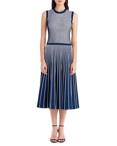 Crewneck Sleeveless Contrast Inserts Midi Knit Dress