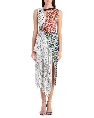 Mixed-Print Crepon Silk Dress