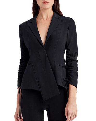 Asymmetric-Placket Ruching-Sleeve Crepe Jacket