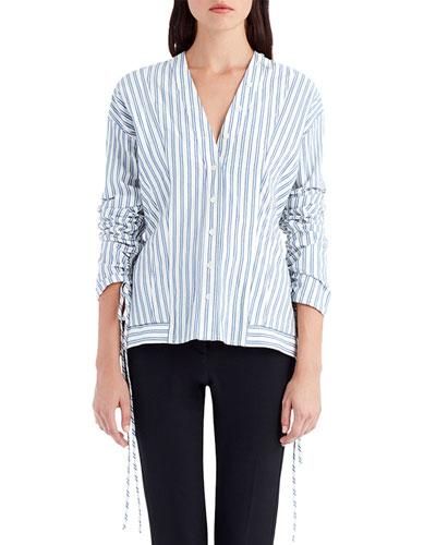 V-Neck Button-Front Striped Poplin Shirt