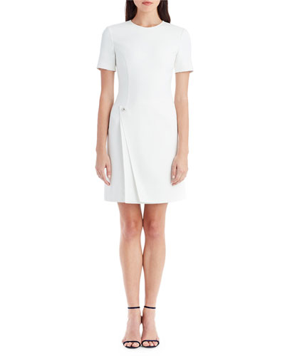 Jewel-Neck Short-Sleeve Sheath Cocktail Dress