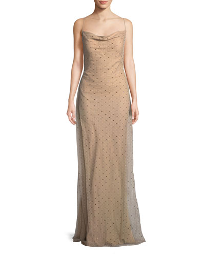 Point d'Esprit Cowl-Neck Slip Evening Gown with Crystals