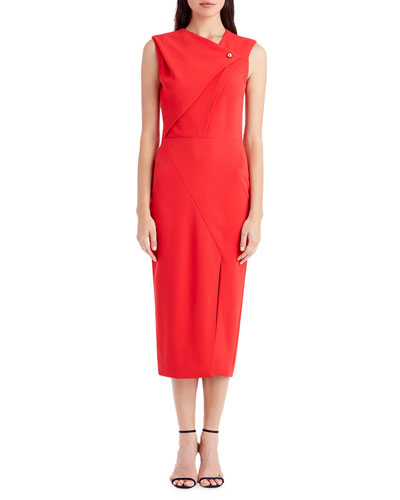 Sleeveless Asymmetric-Neck Cocktail Dress with Pearl Snap