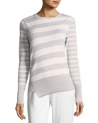Crewneck 2-Way Striped Cashmere Sweater