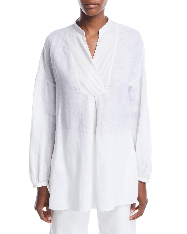 78e885a4c3e Loro Piana Delave Long-Sleeve Henley Linen Top In White