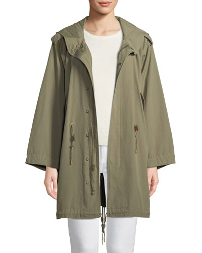 Zip-Front Hooded Cotton Parka Jacket