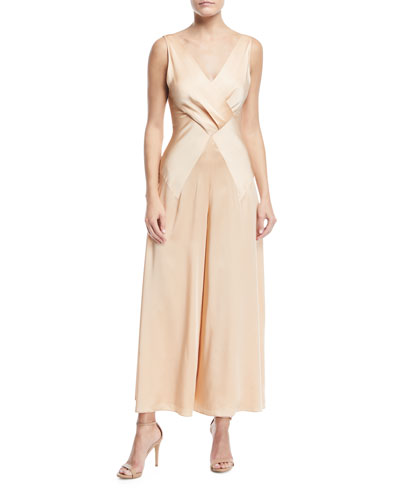 Sarena Sleeveless V-Neck Wide-Leg Charmeuse Jumpsuit