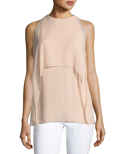 Ashley High-Neck Sleeveless Crinkle Chiffon Blouse