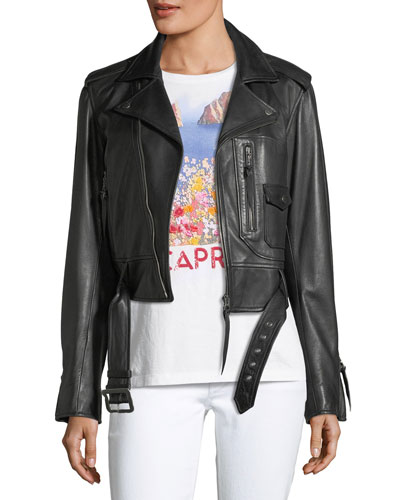 Cayden Cropped Leather Moto Jacket