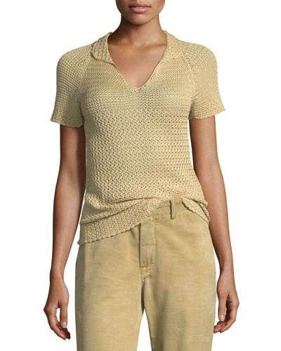 Short-Sleeve Raglan Crochet Polo Top