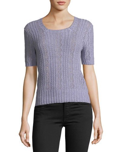 Short-Sleeve Square-Neck Cashmere Knit Top