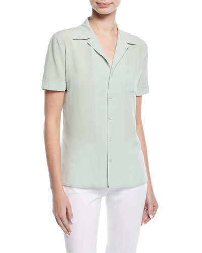 Martina Button-Front Short-Sleeve Silk Blouse