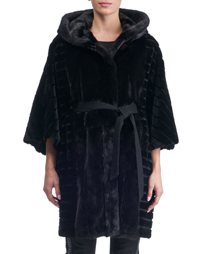 Batwing Sleeves Sheared Mink Short Coat with Hood