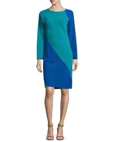 Long-Sleeve Spiral Silk Dress, Blue