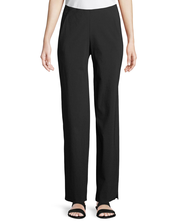 Stretch-Wool Straight-Leg Pants