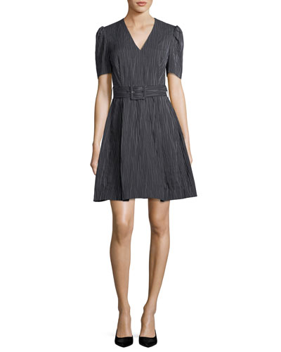 V-Neck Short-Sleeve Belted Striped Crinkle Cotton Dress