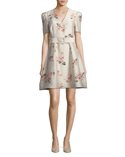V-Neck Short-Sleeve Belted Fit-and-Flare Floral Jacquard Dress