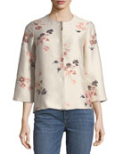 Collarless Floral-Jacquard Jacket