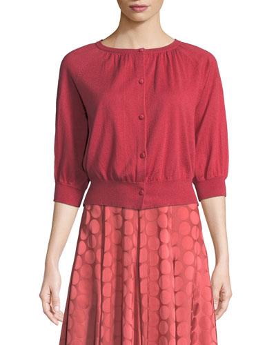 Bubble-Sleeve Silk-Cashmere Knit Cardigan