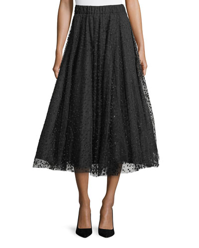 Dotted Tulle Circle Midi Skirt