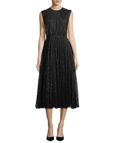 Sleeveless Jewel-Neck Dot Tulle Flared-Skirt Dress